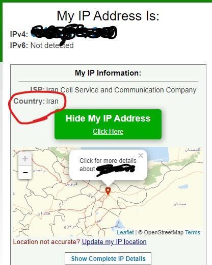 از خاموش بودن VPN مطمئن شوید.